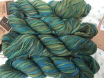 Santa Fe Aslan Trends  Sock Yarn Kettle Hand Dyed One 180 yard skein Greens