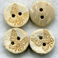 Coconut Wood Buttons Decorated 15mm (5/8 inch) Set of 8/BT100