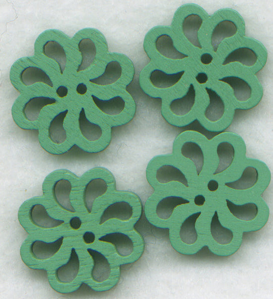 Green Lace Flower Buttons Laser Cut Wooden Buttons 20mm (7/8 inch) Set of 8 /BT128