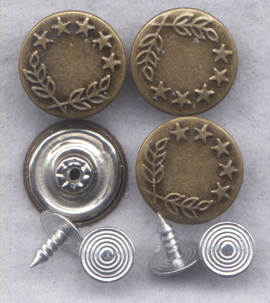 Stars and Laurel Shank Buttons Sturdy Metal Jeans Buttons 18mm (3/4 inch) Set of 8/BT136C