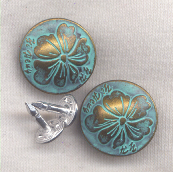 Verdigris Flower Design Shank Buttons Jeans Buttons 20mm (3/4 inch) Set of 2/BT136D