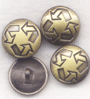 Brass Shank Buttons Recycle Symbol Sturdy Metal  15mm (5/8 inch) Set of 8/BT137