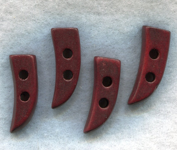 Dark Red Brown Wood Toggle Claw Buttons Wooden 30mm (1 1/4 inch) Set of 8 /BT208