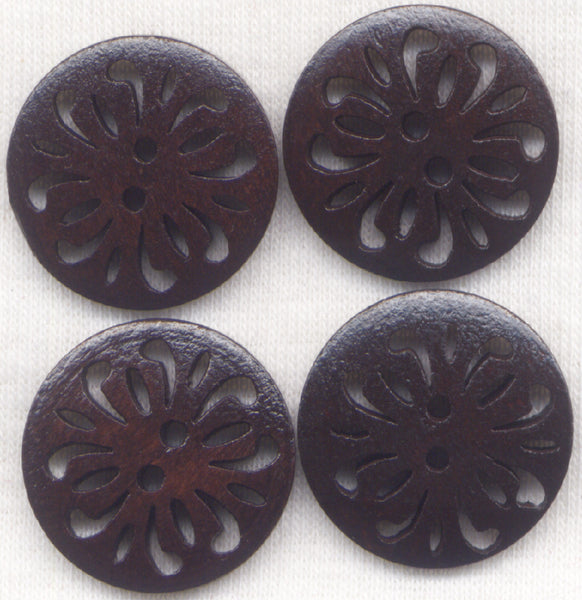 Lace Brown Buttons Decorated Lacy Wooden 24mm (1 inch) Set of 8/BT252D