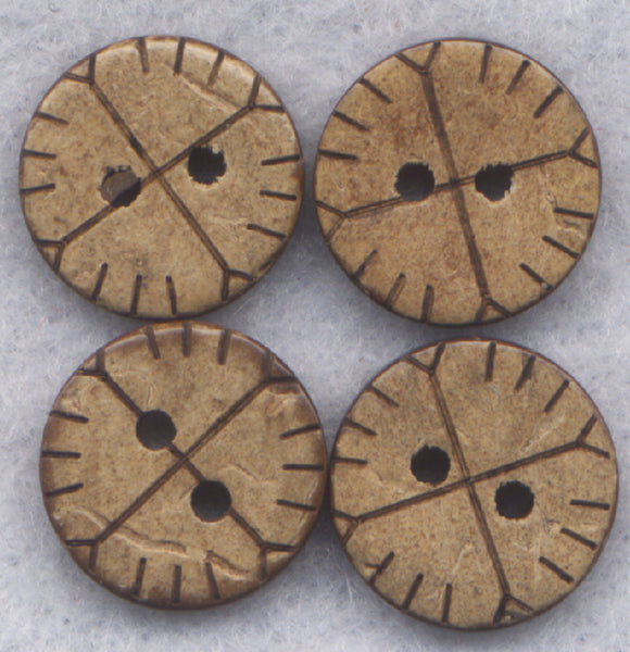 Coconut Wood Buttons Stitches Decorated Buttons 13mm (1/2 inch) Set of 12/BT257
