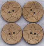 Coconut Wood Buttons Stars Decorated Buttons 25mm (1 inch) Set of 8 /BT268