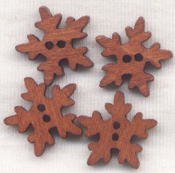 Brown Snowflake Buttons Wooden Buttons 18mm (3/4 inch) Set of 8 /BT297