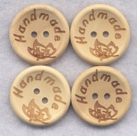 Handmade Buttons Decorated Wooden Buttons 23mm (1 inch) Set of 8 /BT380
