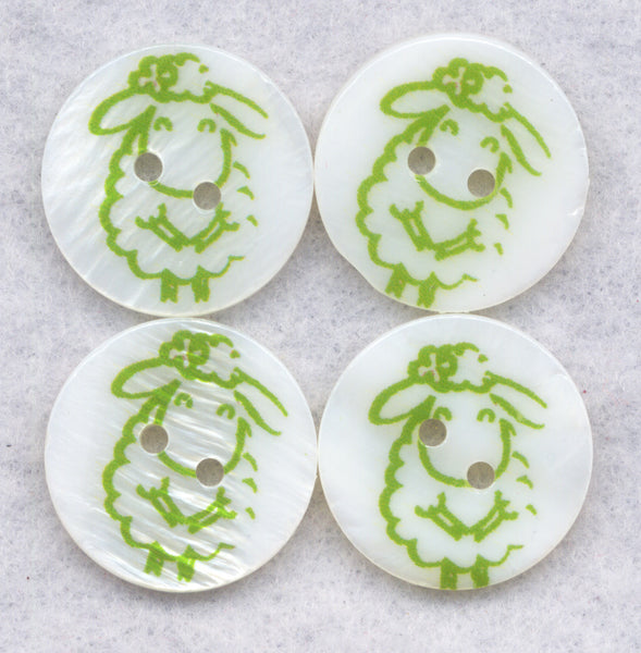 Green Sheep White Mother of Pearl Buttons Natural 18mm (3/4 inch) Set of 8 /BT390B