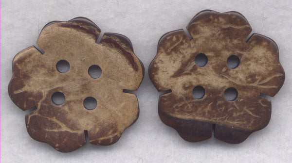 Coconut Wood Buttons Flowers Decorated Wooden Buttons 35mm (1 1/4 inch) Set of 4/BT392