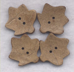 Coconut Wood Buttons Brown Leaf  28mm (1 1/8 inch) Set of 8 /BT394