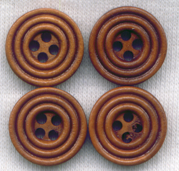 Rusty Brown Buttons Circle Design Wood 15mm (5/8 in) set of 8 /BT410