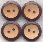 Brown Buttons 2 Tone Wood  15mm (5/8 inch) Set of 8 /BT411