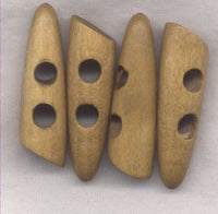 Natural Brown Wood Horn Toggle Buttons Wooden 47mm (1 7/8 inch) Set of 8 /BT433