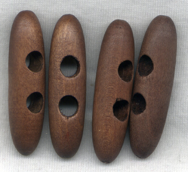 Chocolate Brown Wood Toggle Buttons Wooden 45mm (1 5/8 inch) Set of 8 /BT437