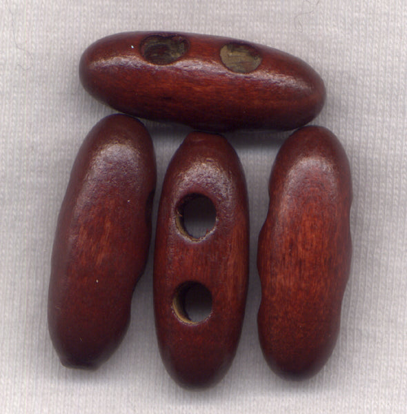 Rusty Brown Wood Toggle Buttons Wooden 30mm (1 1/8 inch) Set of 12 /BT447