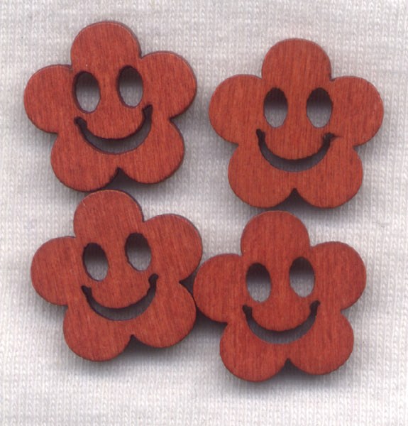 Rusty Brown Happy Face Wooden Buttons 18mm (3/4 inch) Set of 8 /BT44