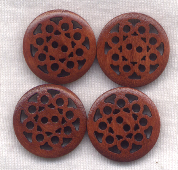 Loopy Lace Rusty Brown Buttons Laser Cut Wooden  20mm (7/8 inch) Set of 8 /BT451