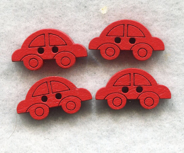 Red Car Buttons Decorated Vehicle Wooden Buttons 18mm (3/4 inch) Set of 8 /BT47R
