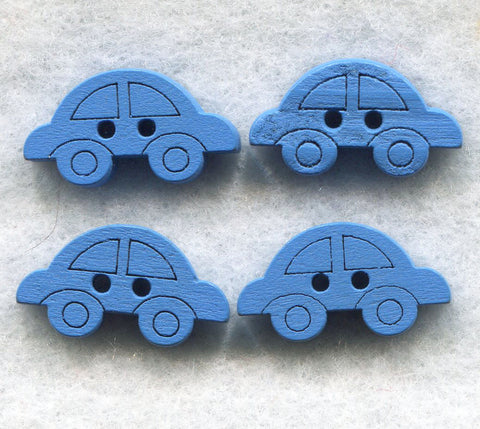Blue Car Buttons Decorated Vehicle Wooden 18mm (3/4 inch) Set of 8 /BT47B