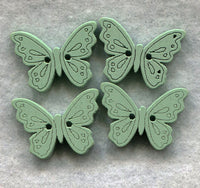 Butterfly Buttons Decorated Light Teal Wooden Blue 18mm (3/4 inch) Set of 8 /BT49C