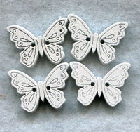 Butterfly Buttons Decorated White Wooden 18mm (3/4 inch) Set of 8/BT49E