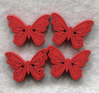 Butterfly Buttons Decorated Red Wooden  18mm (3/4 inch) Set of 8 /BT49F