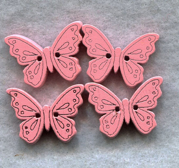 Butterfly Buttons Decorated Sweet Pink Wooden 18mm (3/4 inch) Set of 8 /BT49G
