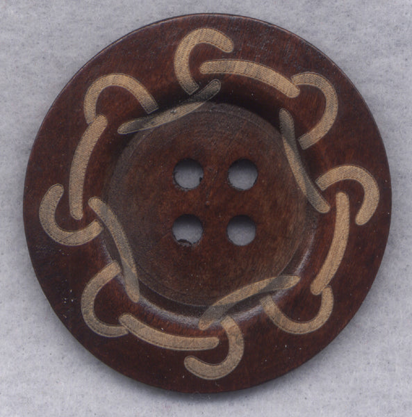 Rusty Brown Wood Buttons BIG Wooden Buttons 60mm (2 3/8 inch) Set of 2/BT502