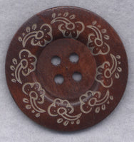 Rusty Brown Wood Buttons BIG Wooden Buttons 60mm (2 3/8 inch) Set of 2/BT505