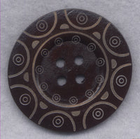 Dark Brown Wood Buttons BIG Wooden Buttons 60mm (2 3/8 inch) Set of 2/BT506