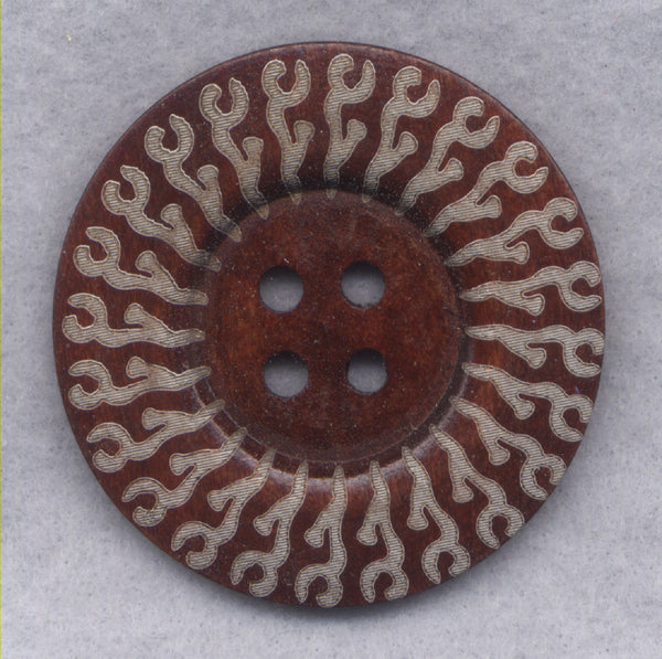 Rusty Brown Wood Buttons BIG Wooden Buttons 60mm (2 3/8 inch) Set of 2/BT507