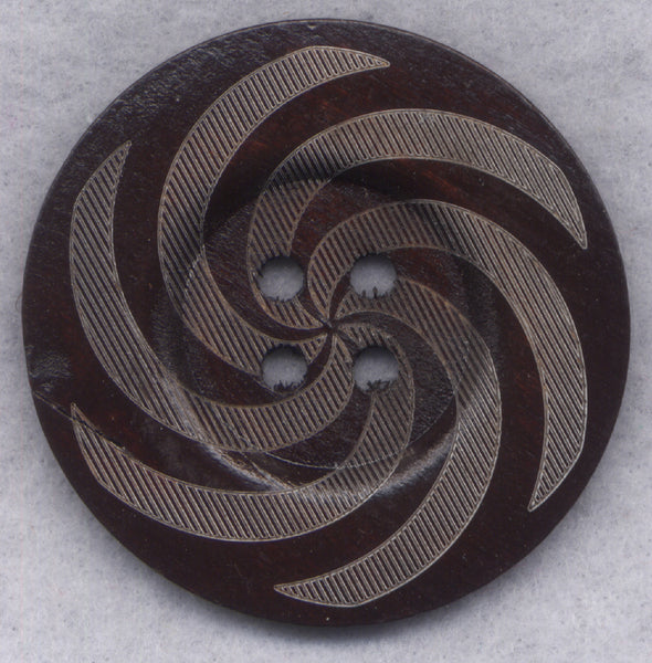 Dark Brown Wood Buttons Swirl BIG Wooden Buttons 60mm (2 3/8 inch) Set of 2/BT509