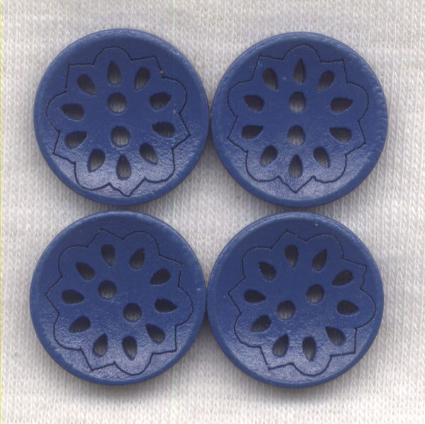 Navy Blue Lacy Cut Buttons Lace Wooden Buttons 18mm (3/4 inch) Set of 8 /BT525B