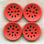 Dark Orange Lacy Cut Buttons Lace Wooden Buttons 18mm (3/4 inch) Set of 8 /BT525C