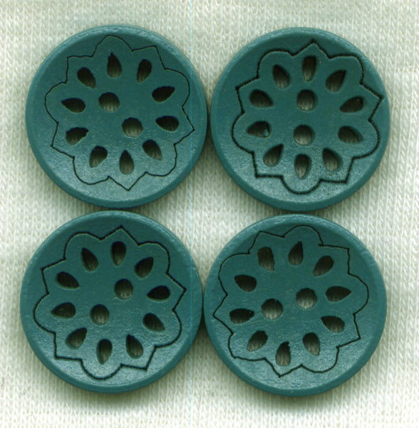Dark Green Lacy Cut Buttons Lace Wooden Buttons 18mm (3/4 inch) Set of 8 /BT525E