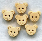 Bear Buttons Natural Wood Wooden 12 mm (1/2 inch) Set of 12/BT96