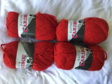 Eaton Caribou Chunky Vintage Bright Red 4 balls 50gm