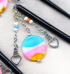Cotton Candy Shawl Pin Black Wooden Shawl Stick Mother of Pearl  HS02