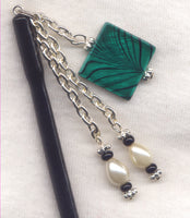 Emerald Green Shawl Pin Mother of Pearl Medallion 4 1/2 inch HS15