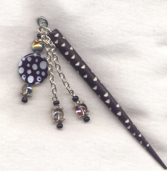 Polka Dot Shawl Pin Stick Elegant Black Bone shaft each/HS18