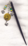 Yellow Rose Black Wooden Shawl Pin Mother of Pearl medallion each HS20