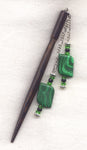 Imitation Malachite Shawl Pin Stick Elegant Black shaft each/HS21