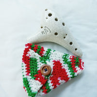 "Ocarina Pouch Red Green White 12 hole ""Alto C"" Holster OP003"