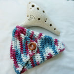 "Ocarina Pouch Cotton Candy Stripes 12 hole ""Alto C"" Holster OP001"