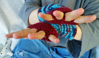 Fingerless Musicians Texting Gloves Red and Blue Hue One size Easy Care FG0012