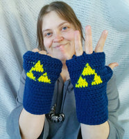 Fingerless Musicians Gloves Legend of Zelda Triforce Navy Blue One size Easy Care FG007