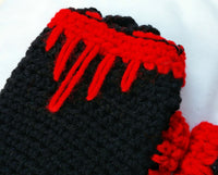 Fingerless Musicians Gloves Dragon Blood Red and Black One size Easy Care FG005