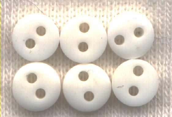 Mini White Acrylic Buttons 7mm (1/4 inch) Set of 12/Mini10