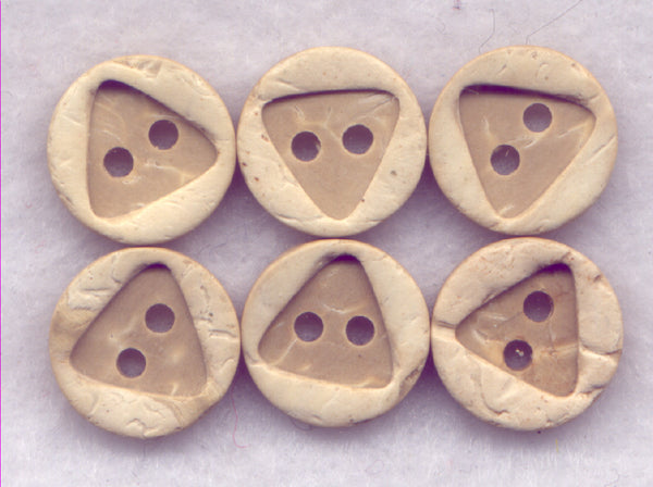Coconut Wood Buttons Triangle Decorated  13mm (1/2 inch) Set of 12/Mini01